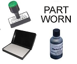 Personalised Part Worn Tyre Marking Kit - Rubber Stamp with additional logo or text Special Marking Ink & Dry Pad
