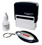Personalied Security Marking Stamp Kit SI-30 57x21mm C/W UV Ink & UV Light Key Ring